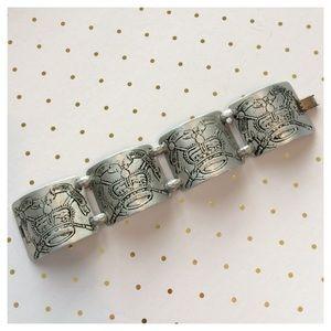 Vintage European Revival Monarch Aluminum Bracelet